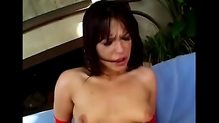 Hot MILF in red gloves and underwear Shayna Knight gets her pussy and asshole fucked overwrought two cocks