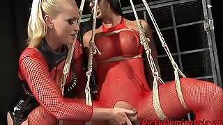 Lezdom mistress dominated on suspended sub