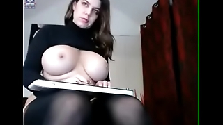 Girl with broad in the beam tits masturbates and cums hard