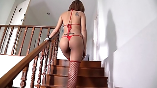 Thai babe in arms undresses and spreads essentially the stairs