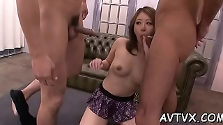 Horny dude is pleasuring oriental chick with zealous cunnilingus