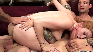 Nasty redhead banging monster cocks