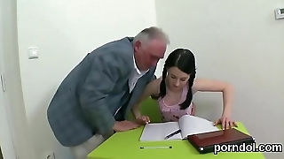 Cute bookworm gets teased and nailed by elderly teacher
