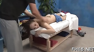Super sexy 18 year old cutey with a loot gets drilled hard doggy style by her massage therapist